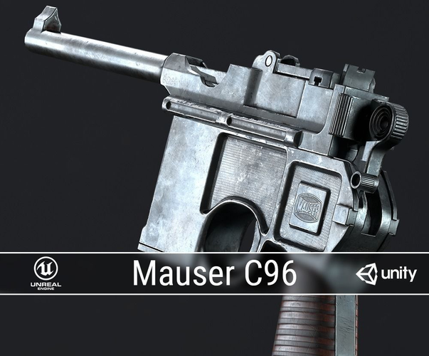 pbr mauser c96 3d model low-poly obj mtl fbx ma mb dae 1