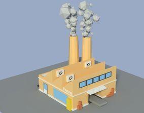 Low Poly Cartoon Factory 4 3D asset
