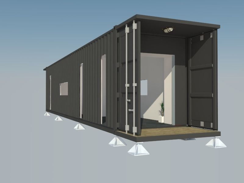 Game Ready Smart Shipping Container Module 3d Model