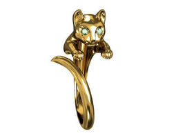 diamond 3D print model Ring Cat