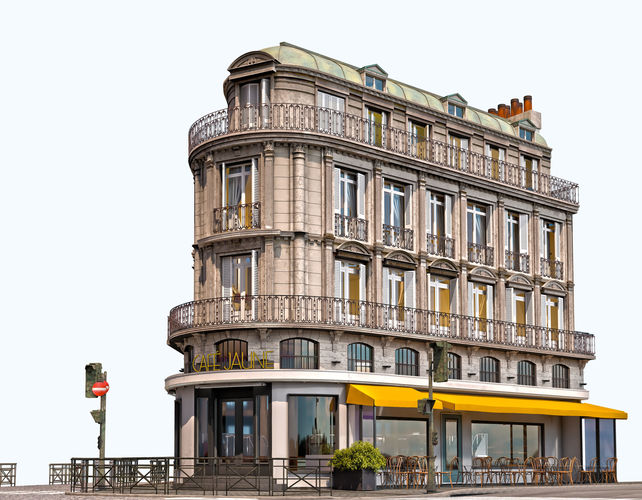 cafe jaune - european architecture 3d model max fbx tga 1