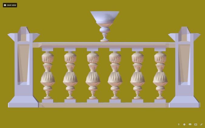balustrade gold palace decor baroque 2  for 3d games 3d model fbx 1