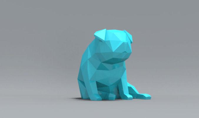 low polygon pug dog model 3d model obj mtl stl 1