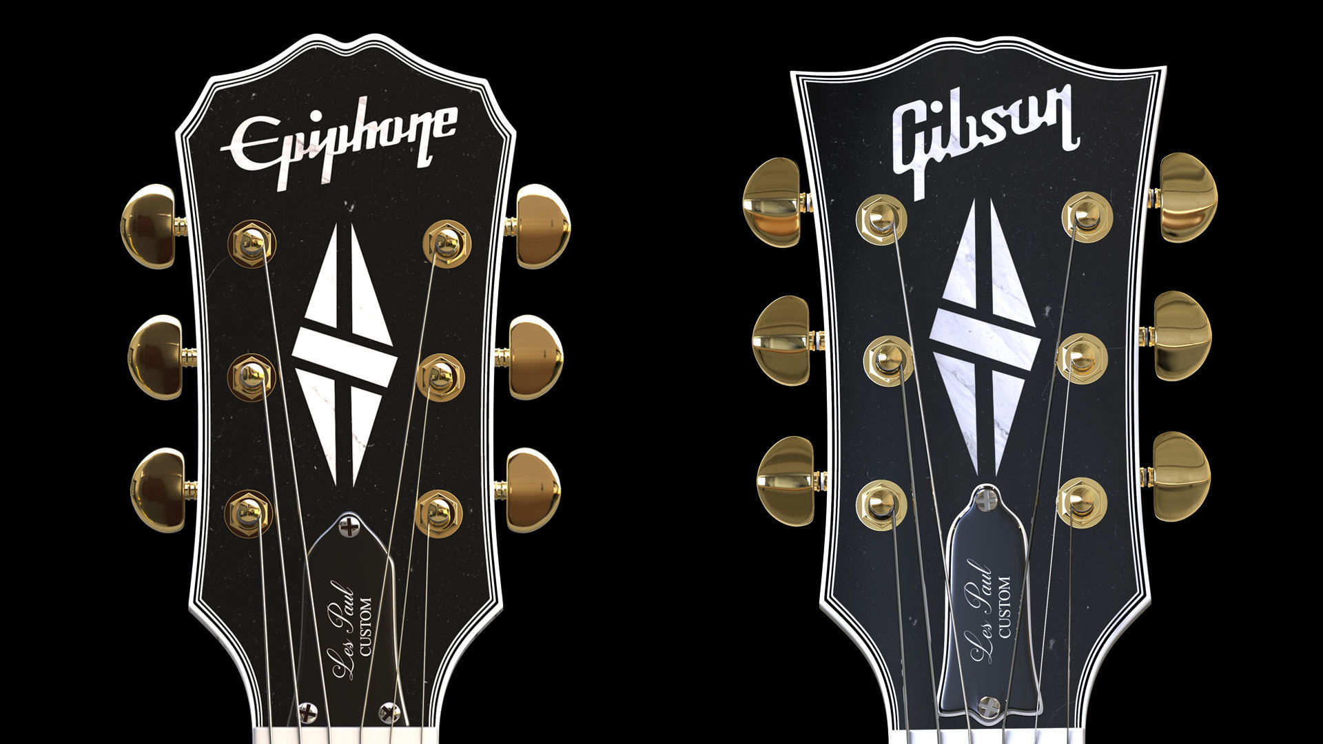 3d gibson and epiphone headstock miniatures cgtrader