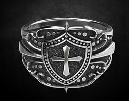 Ring shield with cross and patterns 3D printable model 3