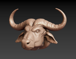 3D print model African buffalo head