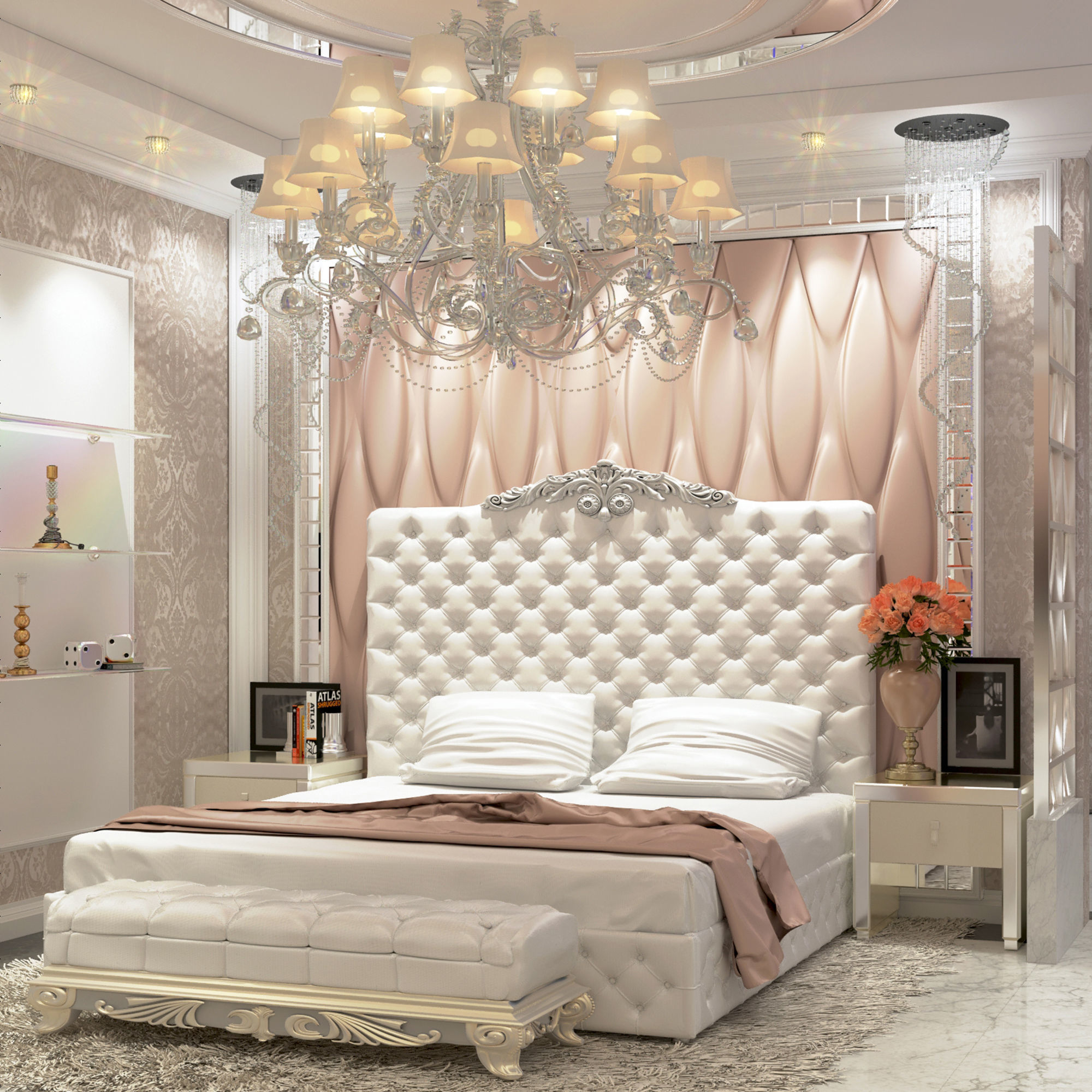 . Modern Luxury bedroom and dressing room   3D model