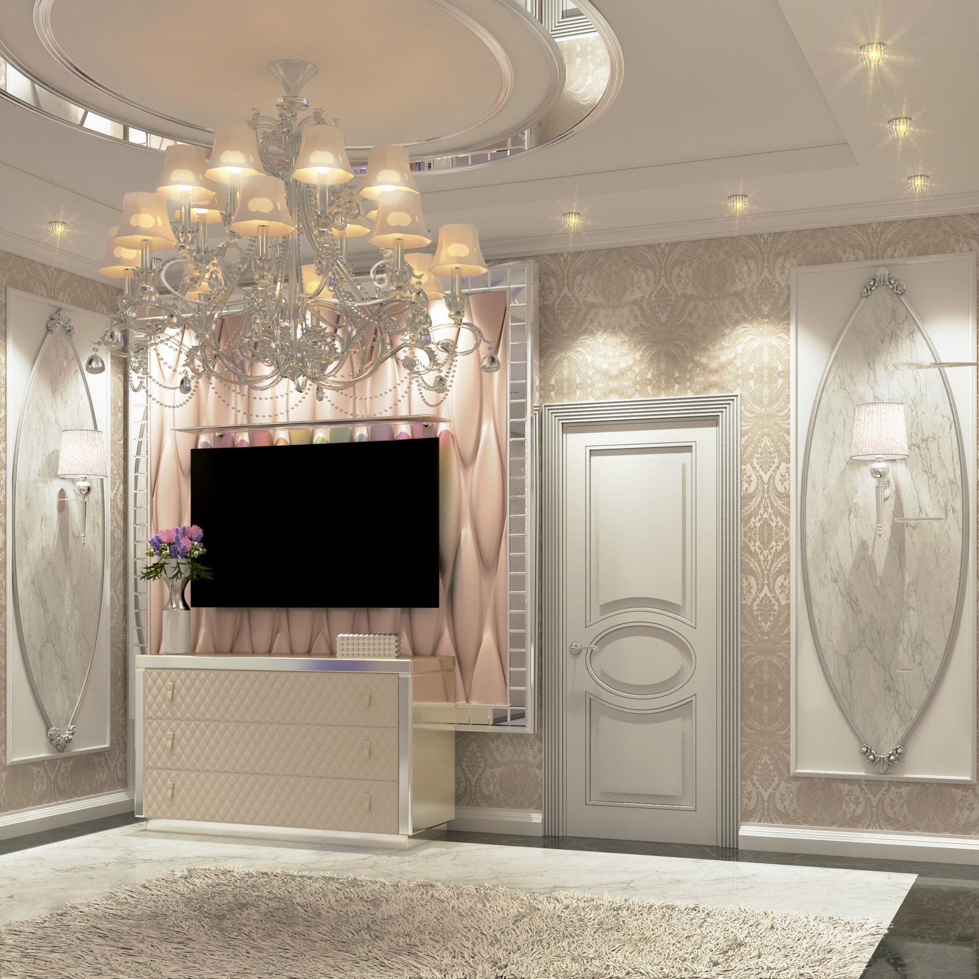 Modern Luxury bedroom and dressing room 3D model