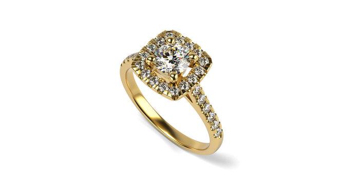 cushion shaped halo engagement ring 3d model stl 1