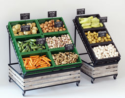 Vegetable display racks 3D