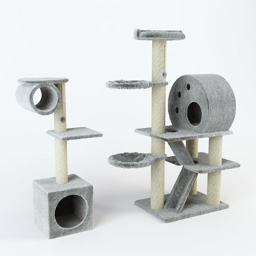 cat tree set decor 3d model max obj mtl 1