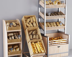Bread display racks 3D