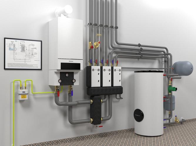 boiler room with buderus gb162-70  3d model max obj mtl fbx mat 1
