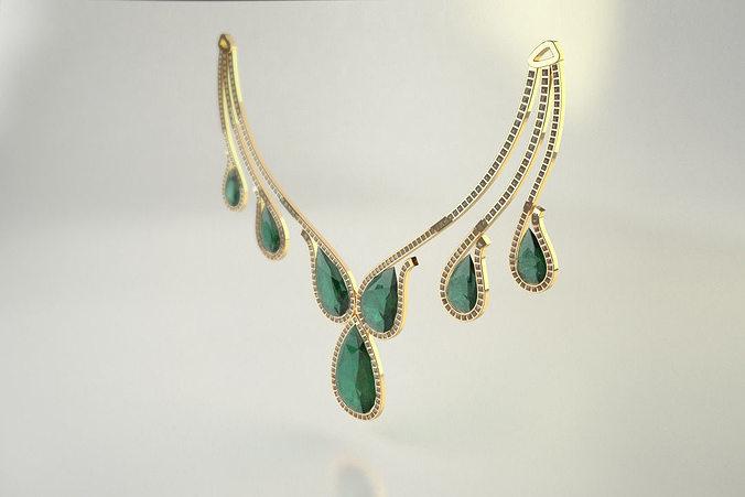3d Printable Model Diamond Necklace Pear Cut Diamond