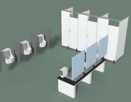 3D asset Low Poly Office Toilets