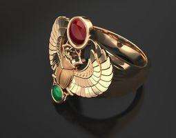 3D print model Gold scarab bug ring - classic