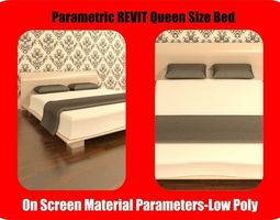 Queen Size REVIT Bed with parametric material 3D asset