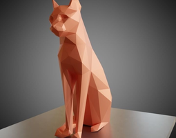 Sitting cat low poly 3D printable model