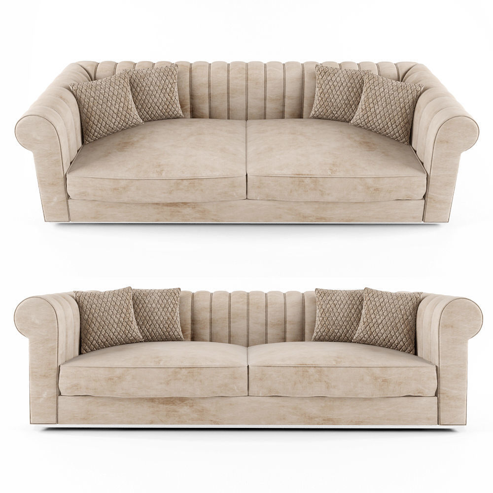 Large Modern Padded Nubuck Leather Italian Sofa | 3D model