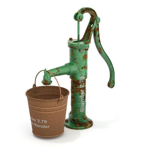 Handheld Water Meter Pump : D model vintage water hand pump with bucket cgtrader