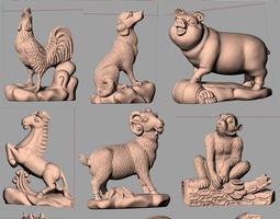 Animal Sculpture Model Zodiac 12 animals A022