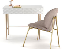 3D West Elm Audrey Mini Desk and Jane Dining Chair