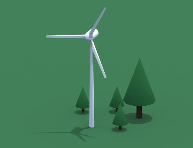a windmill 3d model low-poly obj ma mb mtl 1