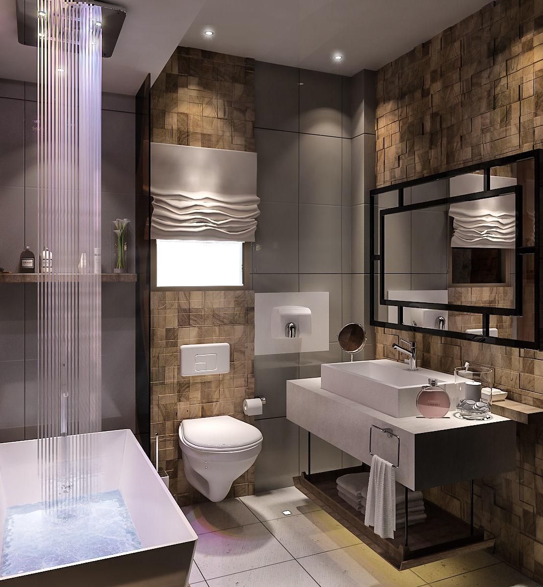 Bathroom Modern desing with stone walls 3D model on Model Bathroom  id=60444