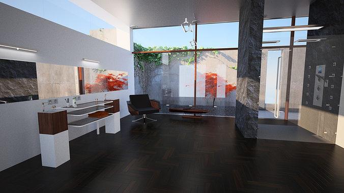 3d model bathroom unique design elements cgtrader for Design bathroom online free 3d