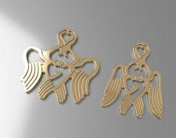 3d printable model pendant angel heart