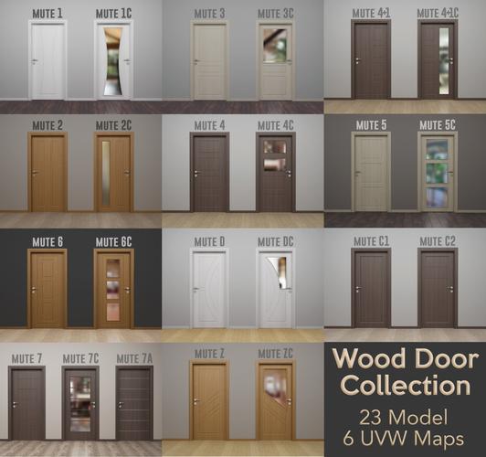 wood door collection - modern interior wood door - real wood uvw 3d model obj mtl 3ds fbx c4d stl 1