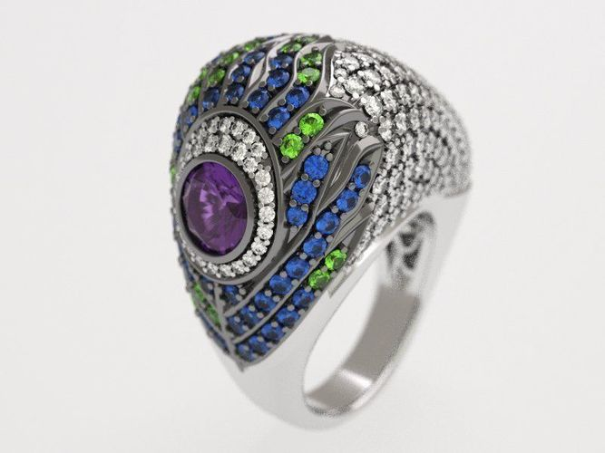 carrera peacock ring -  replica 3d model stl 1