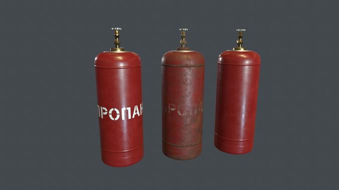 50 liter gas cylinder pbr game ready  3d model low-poly max obj mtl fbx 1