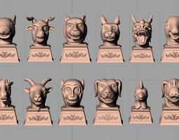 Animal Sculpture Model Chinese Portrait Zodiac A024 3D