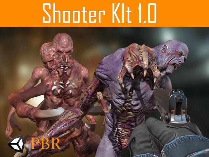 fps shooter kit 3d model low-poly animated obj mtl fbx tga unitypackage prefab 1