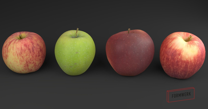 3d scanned apple collection 01 3d model low-poly obj blend mtl 1