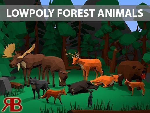 lowpoly forest animals 3d model low-poly rigged animated obj mtl fbx blend 1