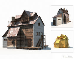 3D asset Old Factory Barn Low Poly