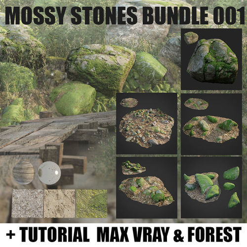 mossy stones bundle 001 3d model low-poly max obj mtl fbx 1