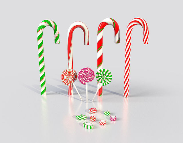 christmas candy canes and lollipops etc 3d model - Christmas Candy Cane