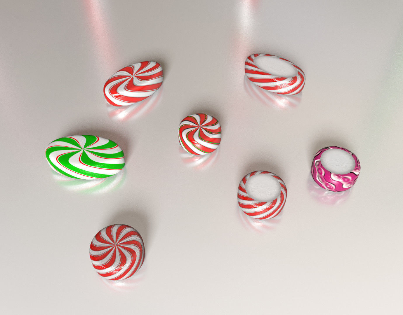christmas candy canes and lollipops etc 3d model obj mtl fbx blend dbo pdf 5 - Christmas Candy Canes