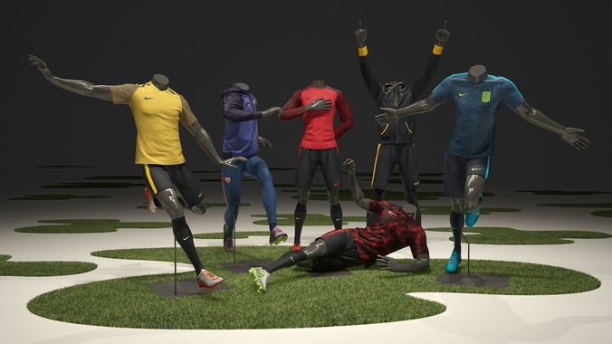 male mannequin nike football pack  3d model max obj mtl fbx 1