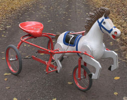 Vintage Soviet Horse Tricycle Pedal Car 3D