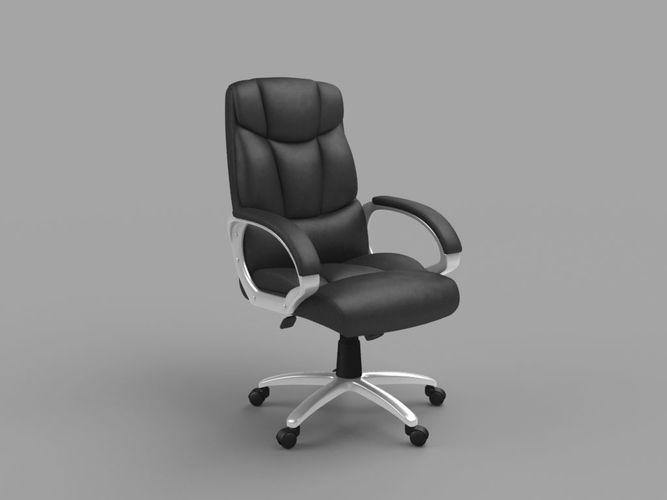 office chair 3d model low-poly obj mtl 1