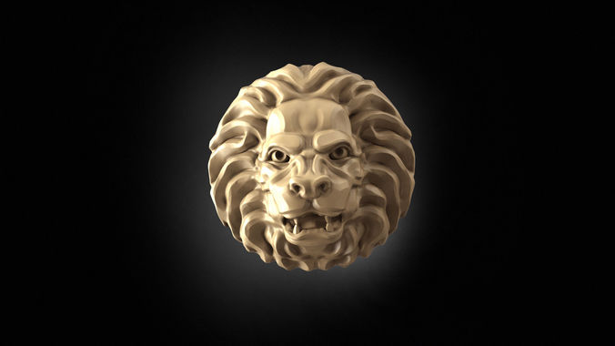 angry lion head 3d model obj mtl stl 3dm 1