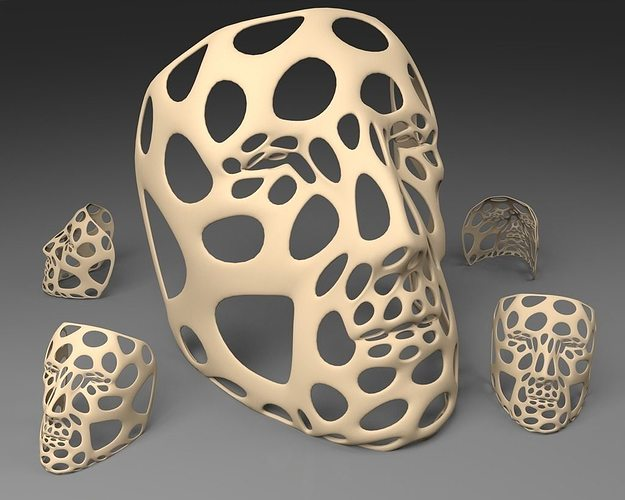 polygon mask - voronoi style single walled thicker and flat b... 3d model stl 1