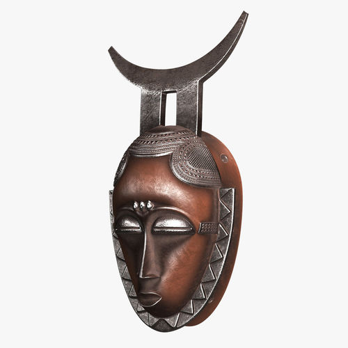 african baule moon mask 3d model low-poly max fbx 1