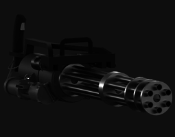 3D model animated Minigun