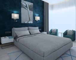 Modern bedroom with green wallpaper 3D