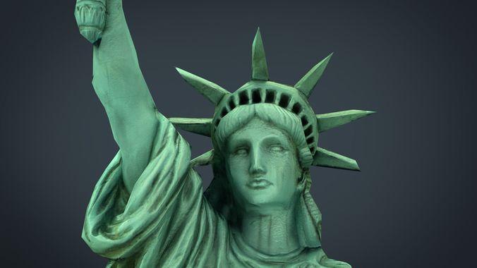 low poly statue of liberty 3d model max obj mtl fbx ma mb 1